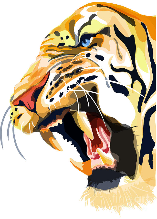Endangered Tiger Painting - Tiger Roar by Sassan Filsoof