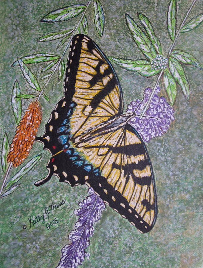 Tiger Swallowtail Butterfly Painting - Tiger Swallowtail Butterfly by Kathy Marrs Chandler