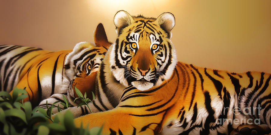 Tiger Digital Art - Tiger Tales by Shannon Rogers