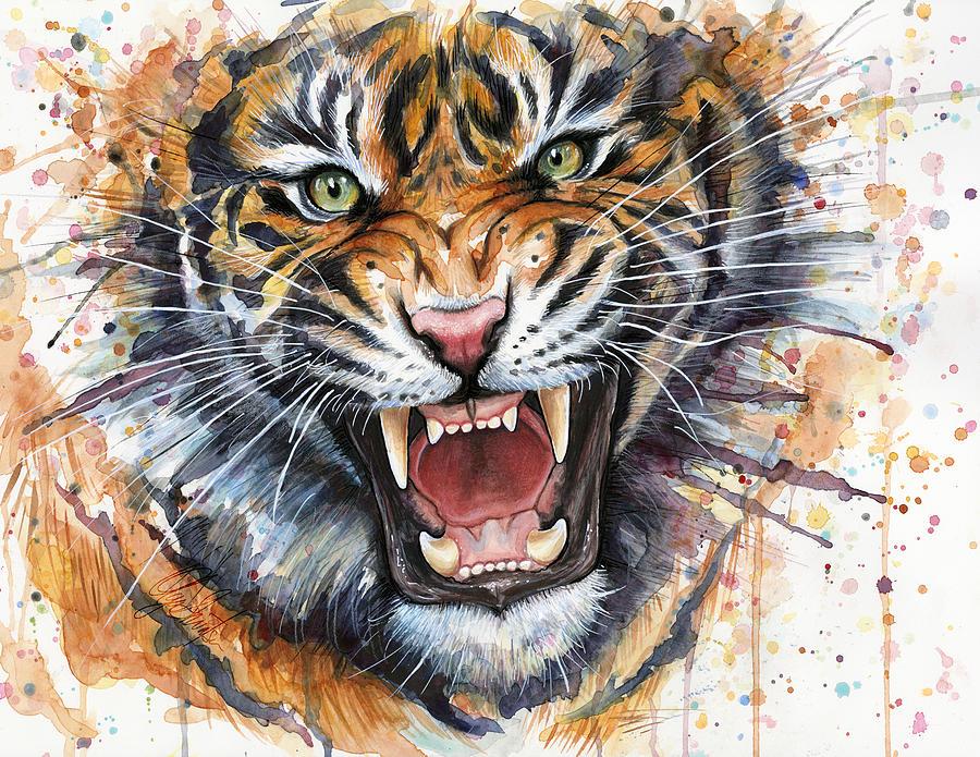 Watercolor Painting - Tiger Watercolor Portrait by Olga Shvartsur