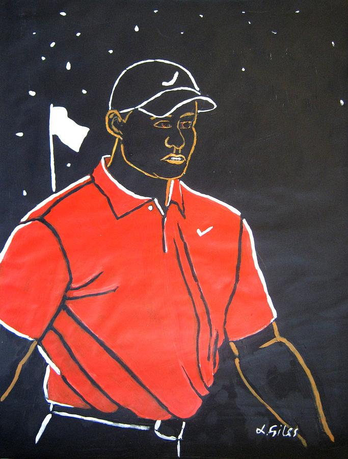 Tiger Woods Painting - Tiger Woods Hazeltine 2009 by Lesley Giles