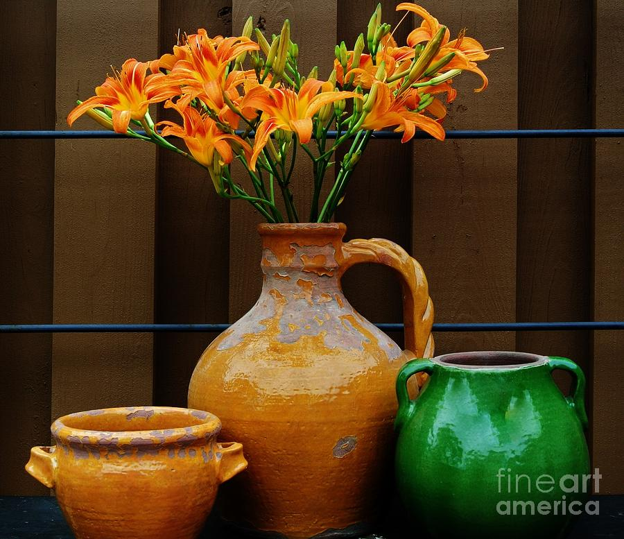 Photo Photograph - Tigerlilies And Pottery by Marsha Heiken