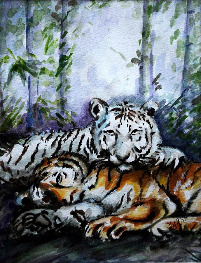 Animals Painting - Tigers-mother And Child by Harsh Malik