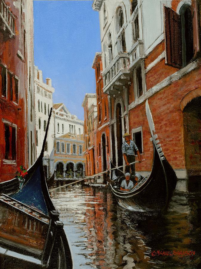 Venice Gondola Painting - Tight Quarters by Michael Swanson