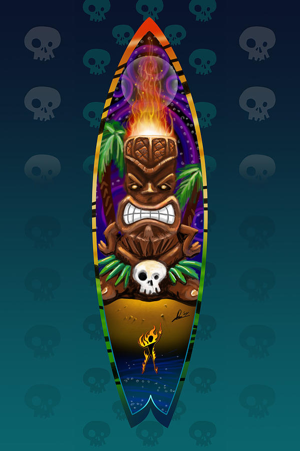 Surf Digital Art - Tikistick by Doug Schramm