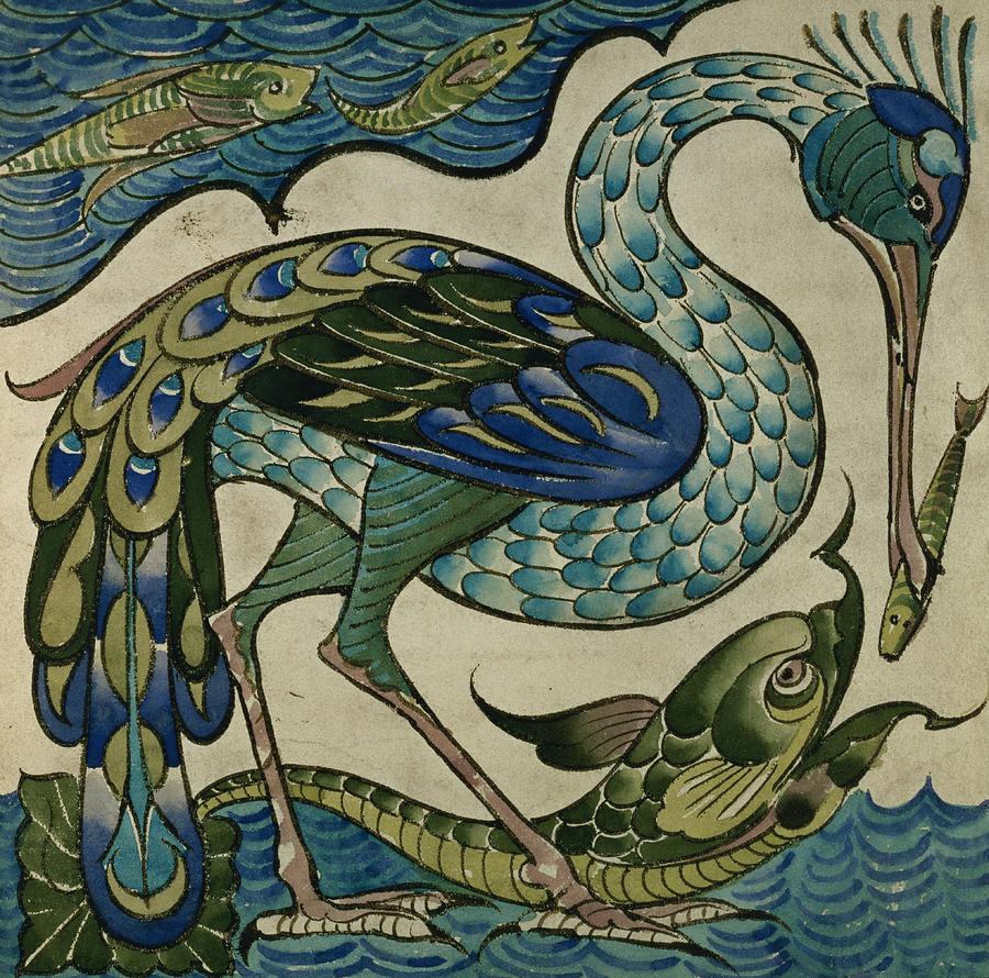 Tile design of heron and fish painting by walter crane for Arts and crafts style prints