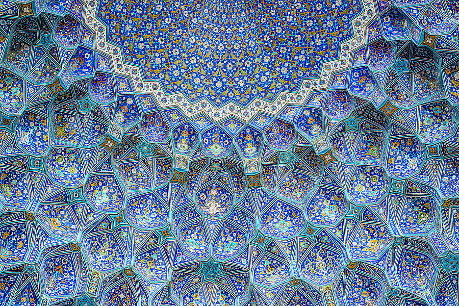 Tilework at Shah Mosque on Imam Square, Isfahan, Iran Photograph by Guenterguni