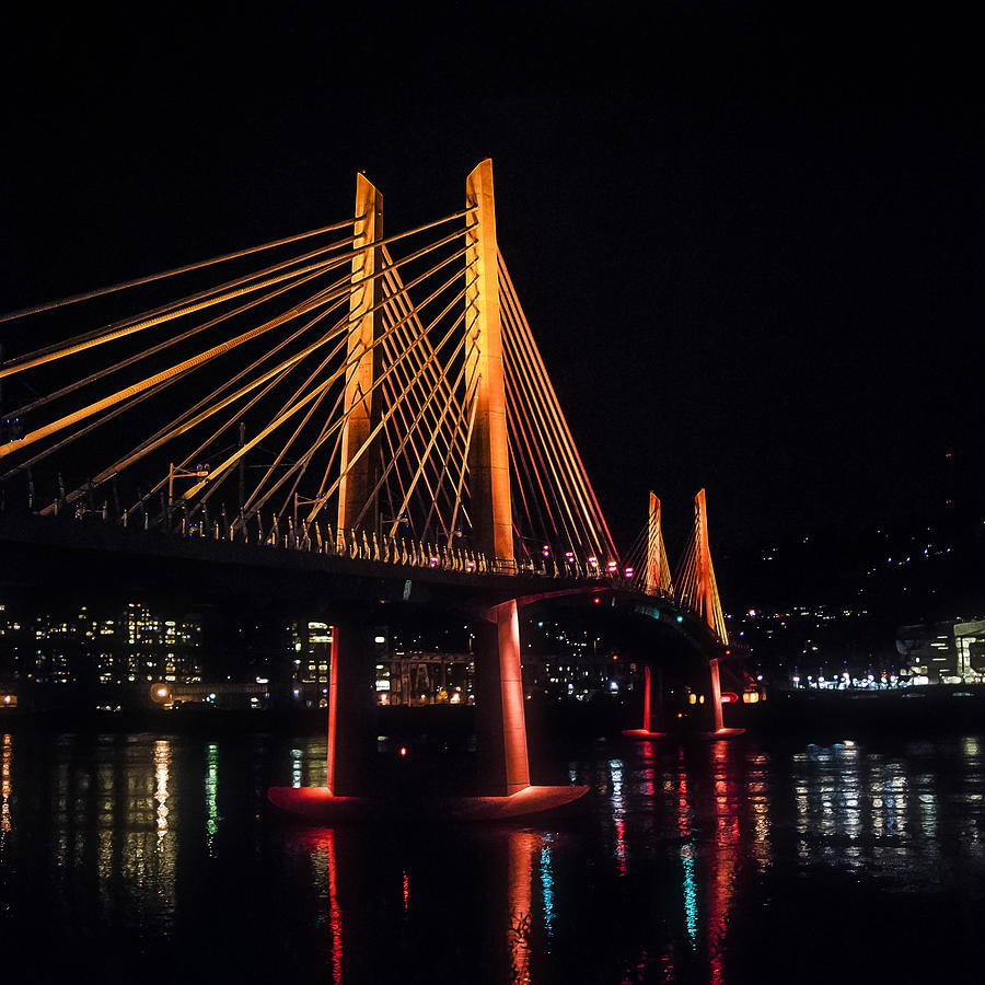 Tilikum Photograph - Tilikum Crossing Flooded With Light by John Magnet Bell