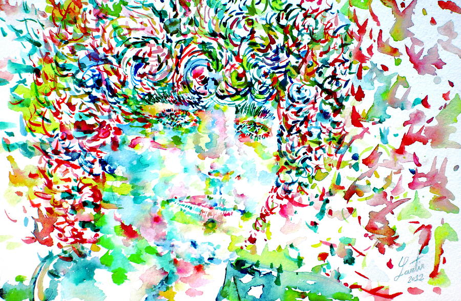 Tim Painting - Tim Buckley Watercolor Portrait by Fabrizio Cassetta