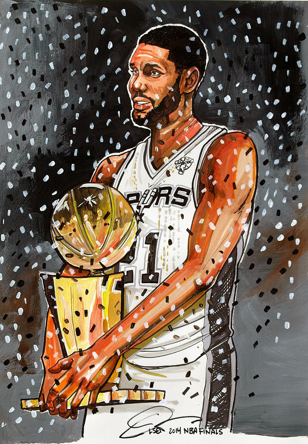 tim duncan nba champion painting by dave olsen