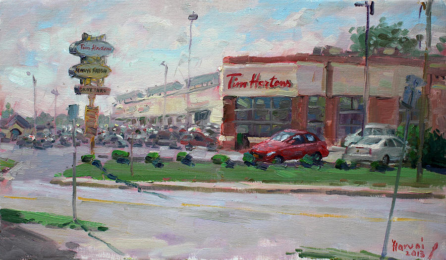 Tim Hortons Painting - Tim Hortons By Niagara Falls Blvd Where I Have My Coffee by Ylli Haruni
