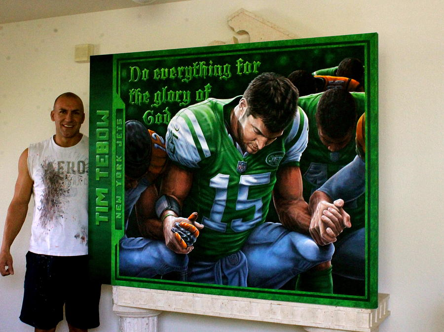 Tim Tebow Painting - Tim Tebow Original Painting By John Prince  Auctioned At His  Foundation Celebrity Golf Classic 2013 by Sports Art World Wide John Prince