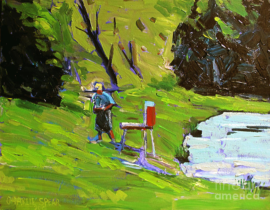 Plein Air Painting - Tim The Plein Air Painter After Monet by Charlie Spear