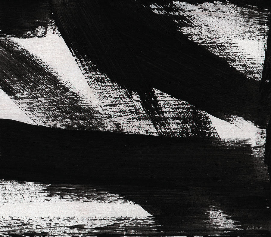 Black And White Abstract Painting - Timber 2- horizontal abstract black and white painting by Linda Woods