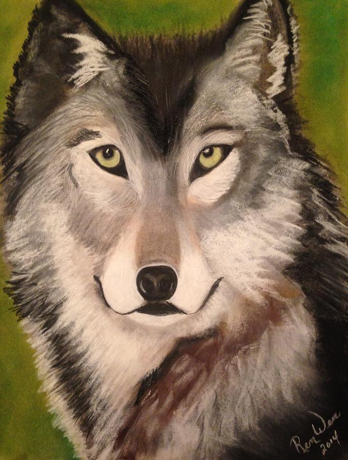 Wolf Painting - Timber Wolf In Summer by Renee Michelle Wenker