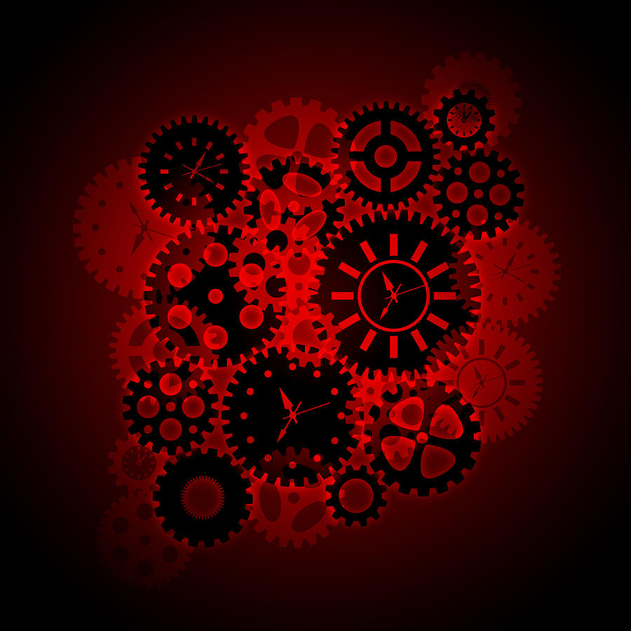 Time Clock Gears Clipart On Red Background Digital Art By