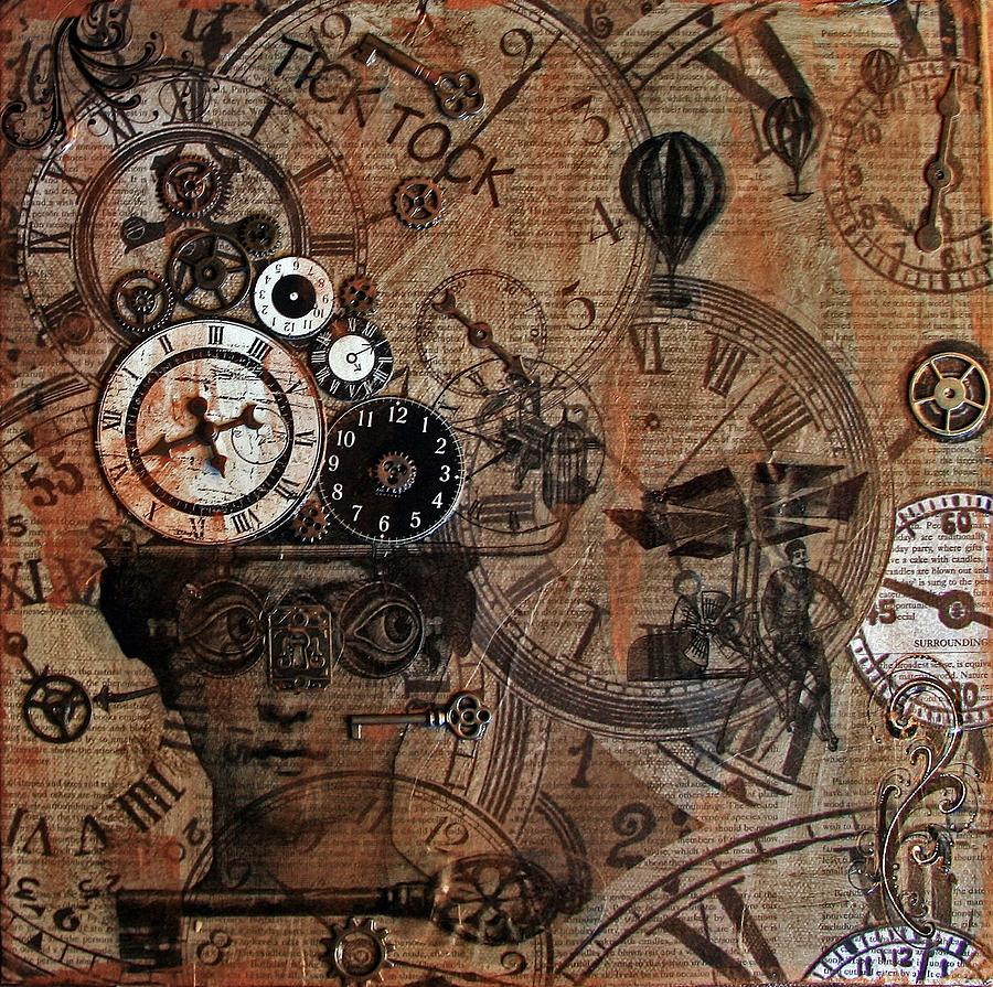 Steam Punk Painting - Time Flies by Jo Ann Koch