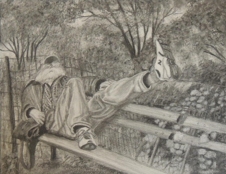 Charcoal Drawing - Time for a Snooze by Lisa MacDonald