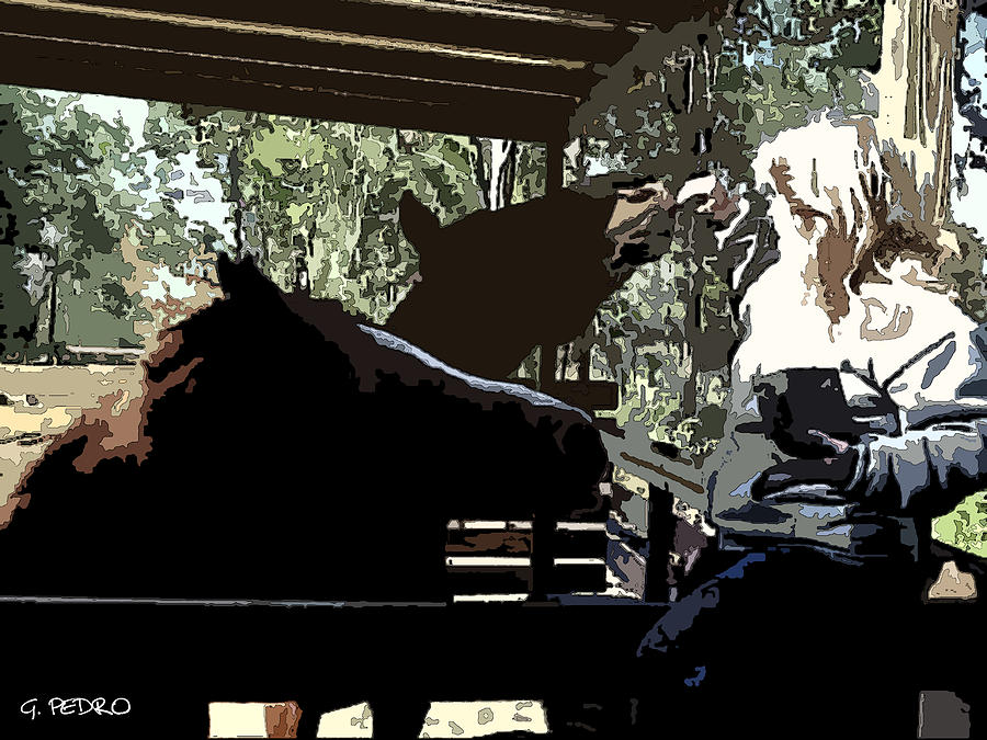 Horse Painting - Time For Treats At The Run In Shed by George Pedro