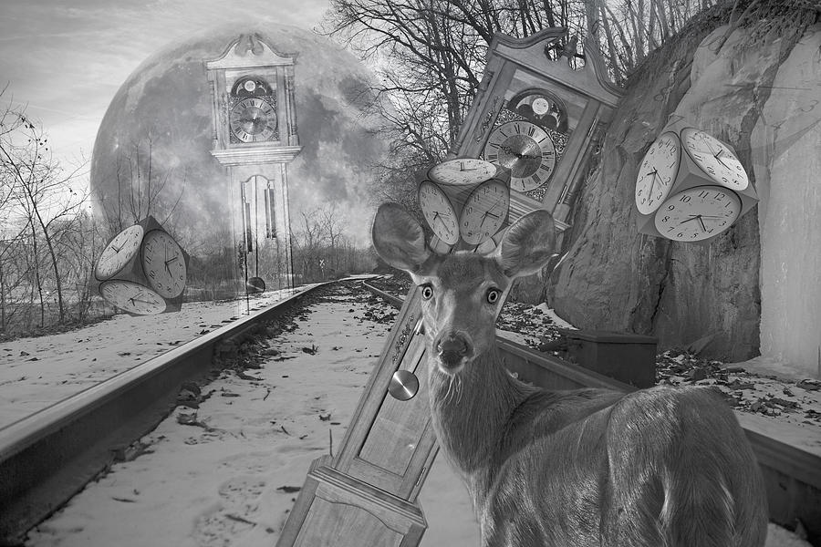 Train Digital Art - Time Is A Target by Betsy Knapp