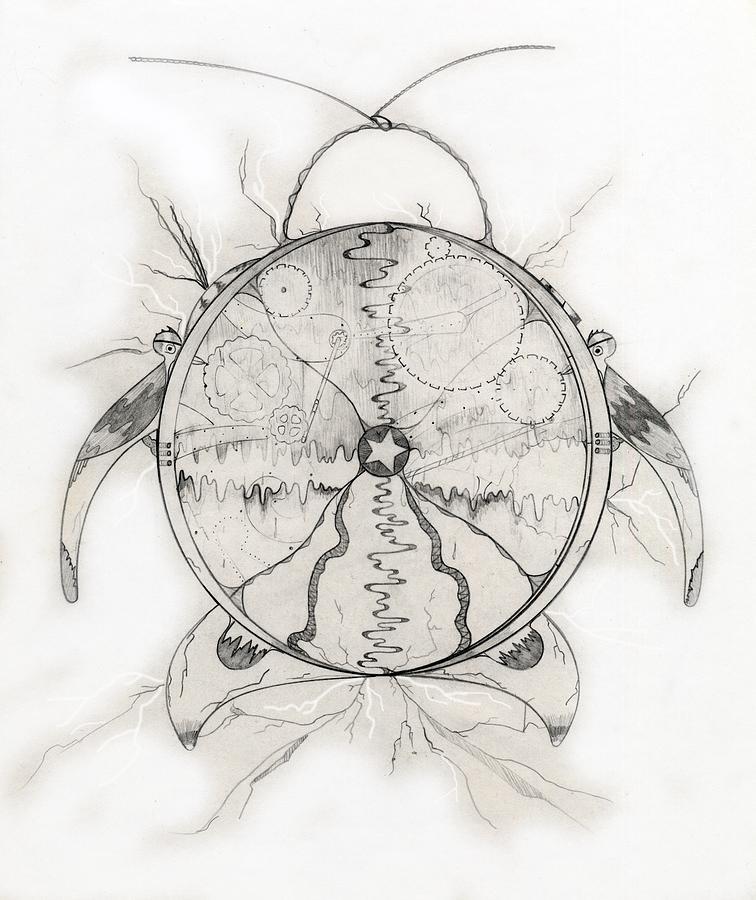 Cuckoo Clock Drawing - Time Machine by Jason Girard