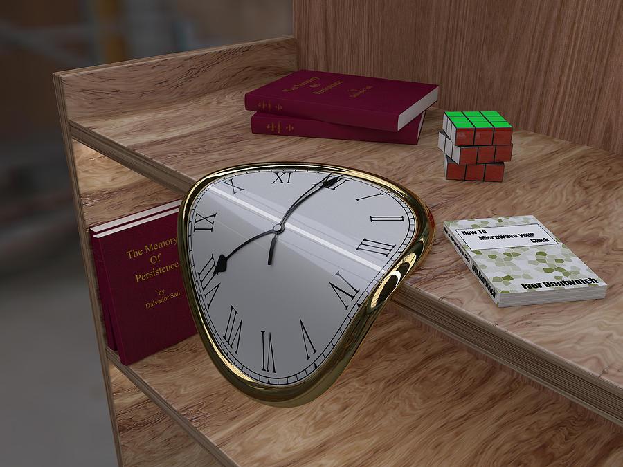Clock Digital Art - Time Slips Away by Paul McManus