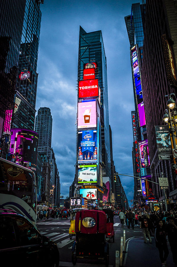 Time Square Photograph - Time Square At Dusk by Chris Halford