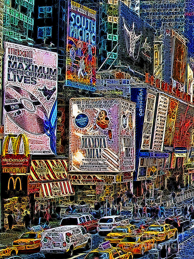 Time Square Photograph - Time Square New York 20130430v3 by Wingsdomain Art and Photography
