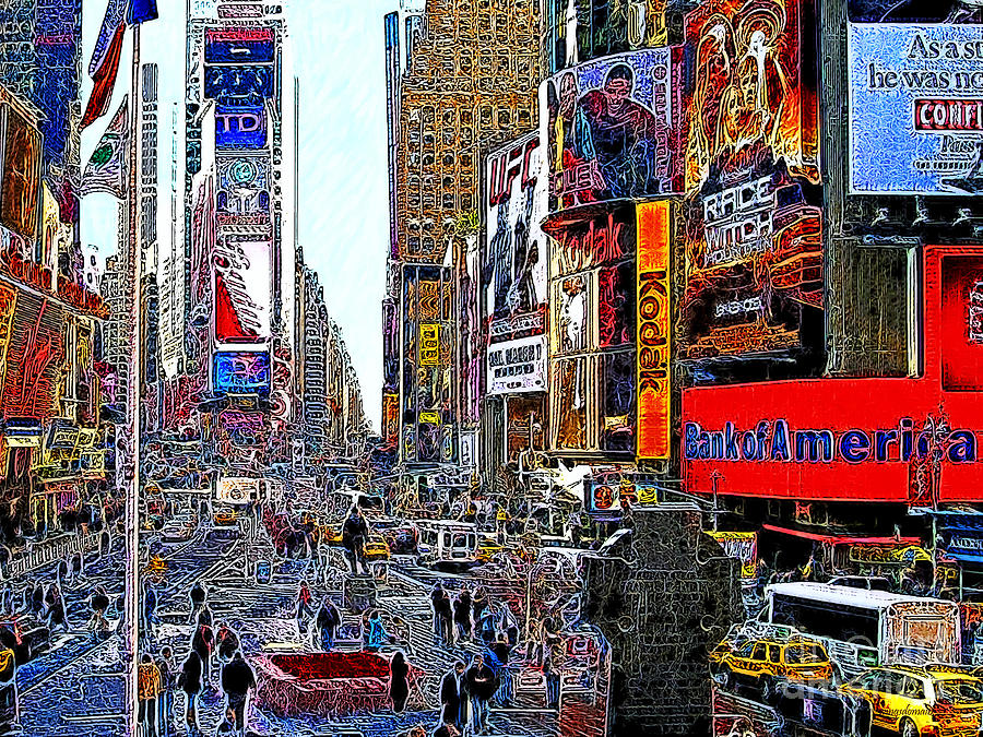 Time Square Photograph - Time Square New York 20130503v4 by Wingsdomain Art and Photography