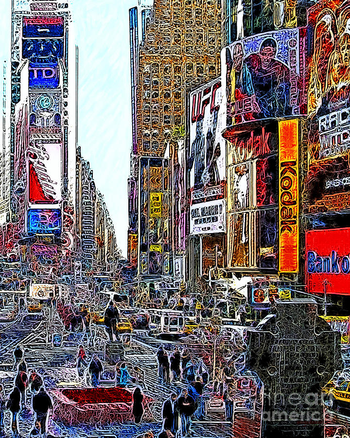 Time Square Photograph - Time Square New York 20130503v7 by Wingsdomain Art and Photography