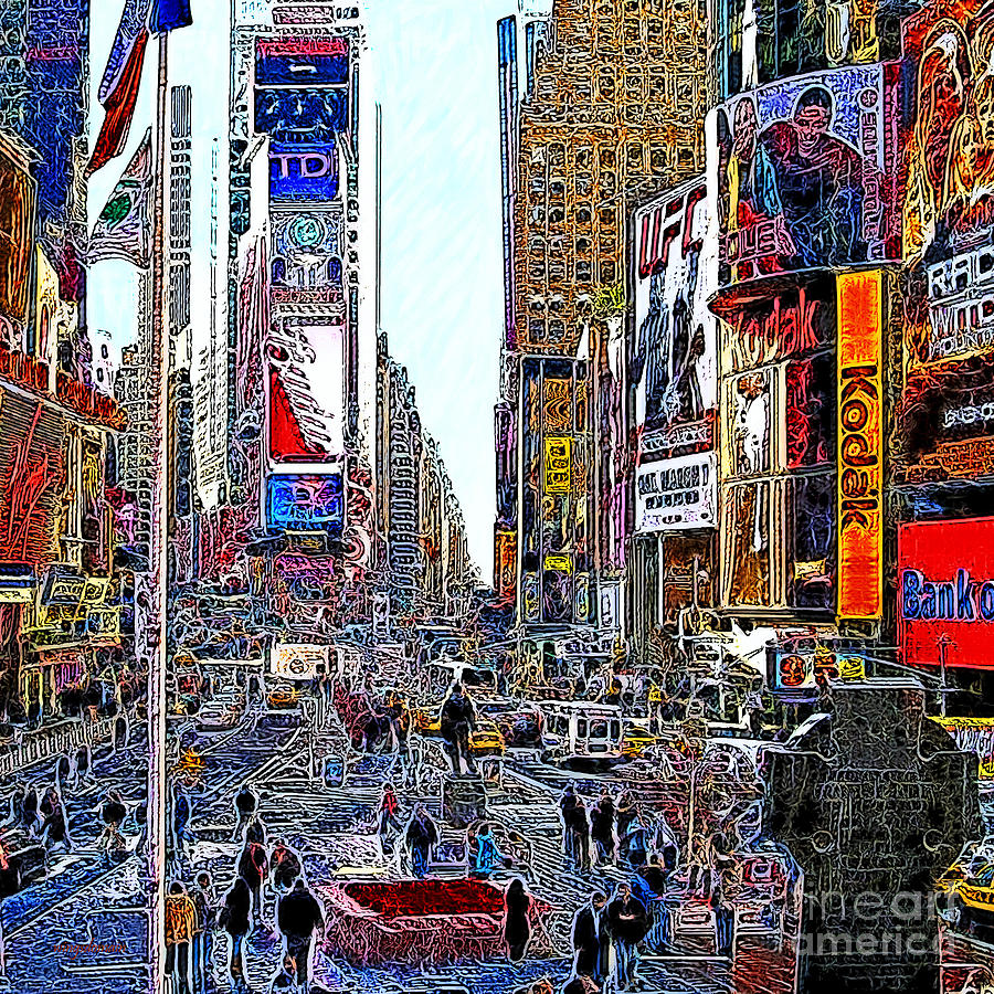 Time Square Photograph - Time Square New York 20130503v8 Square by Wingsdomain Art and Photography
