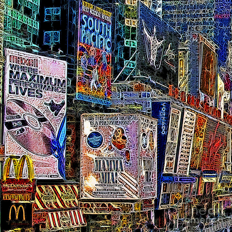 Time Square Photograph - Time Square New York 20130503v9 Square by Wingsdomain Art and Photography