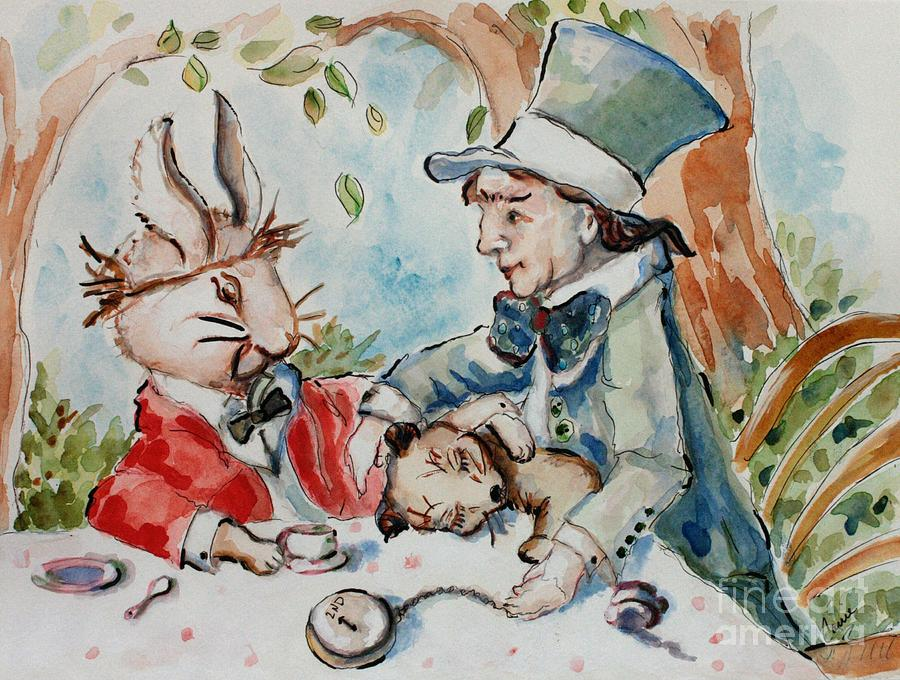 Alice In Wonderland Painting - Time The Mad Tea Party 2 by Carrie Joy Byrnes