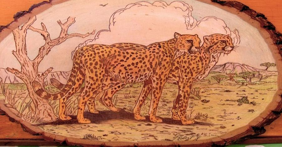 Cheetahs Pyrography - Time To Eat by Rj Schiller