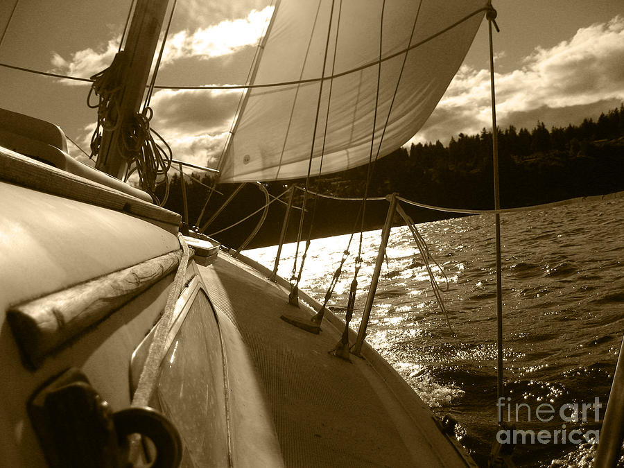 Sailboat Photograph - Time To Jibe  by Kym Backland
