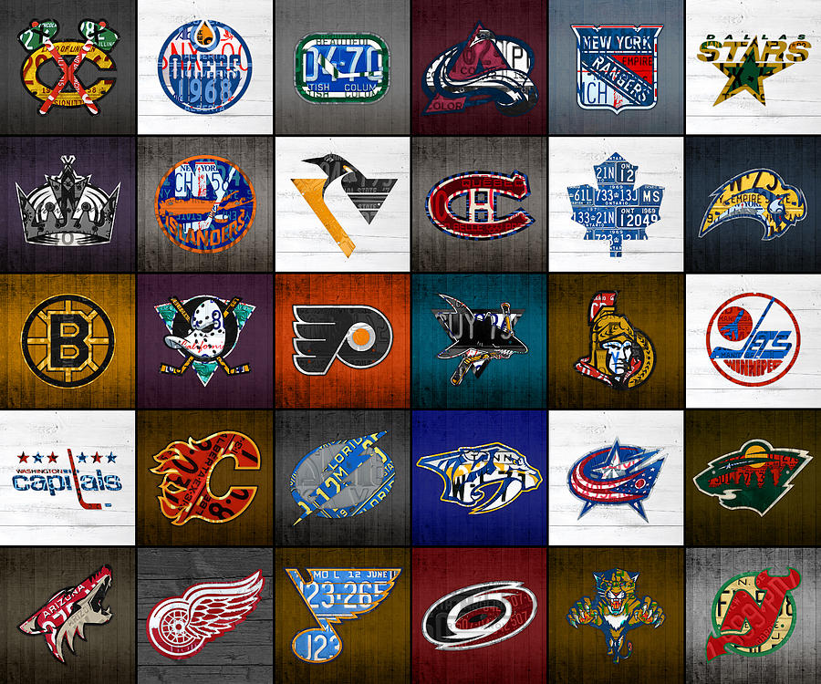 Skates Mixed Media - Time to Lace Up the Skates Recycled Vintage Hockey League Team Logos License Plate Art by Design Turnpike