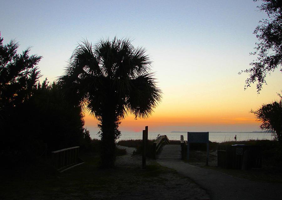 Sunset Photography Canvas Print Photograph - South Carolina Edisto Beach by Ella Char