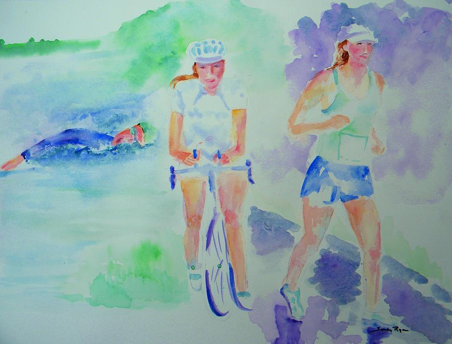 Triathlon Painting - Time To Tri by Sandy Ryan