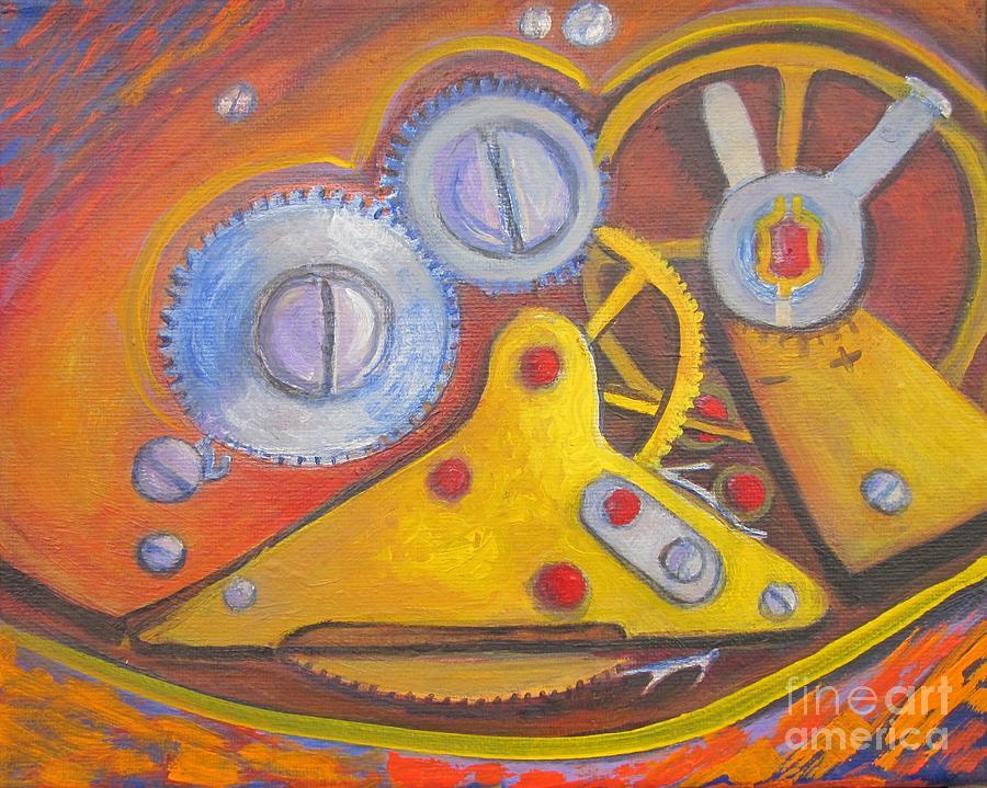Gears Painting - Time Unfolding Study by Vivian Haberfeld