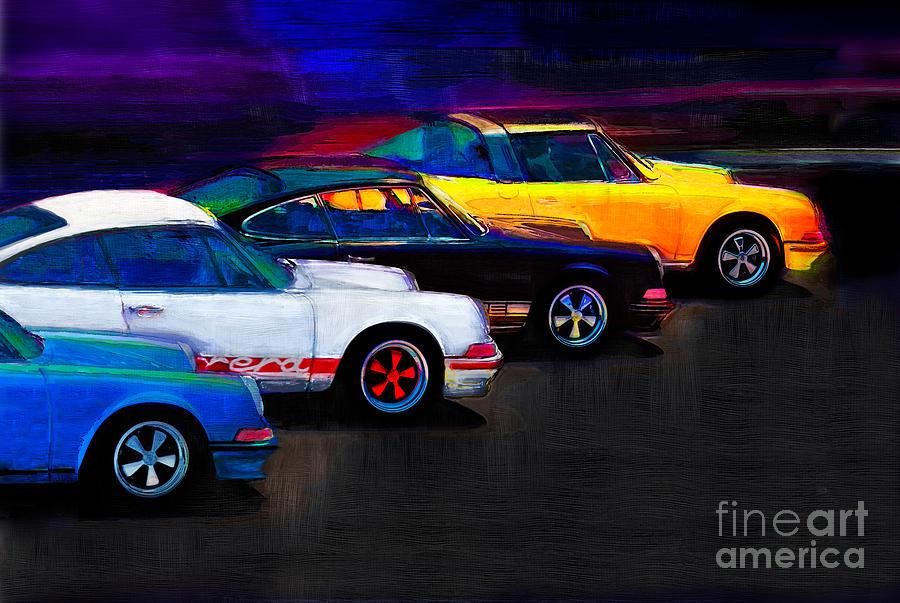 Porsche Digital Art - Timeless Classics by Alan Greene