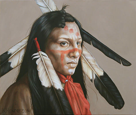 American Indian Painting - Timeless Spirit  Plains Indian by K Henderson