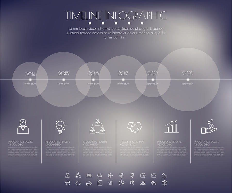 Timeline Circles Infographic. Flat Vector design template. Drawing by Sweetjinkz