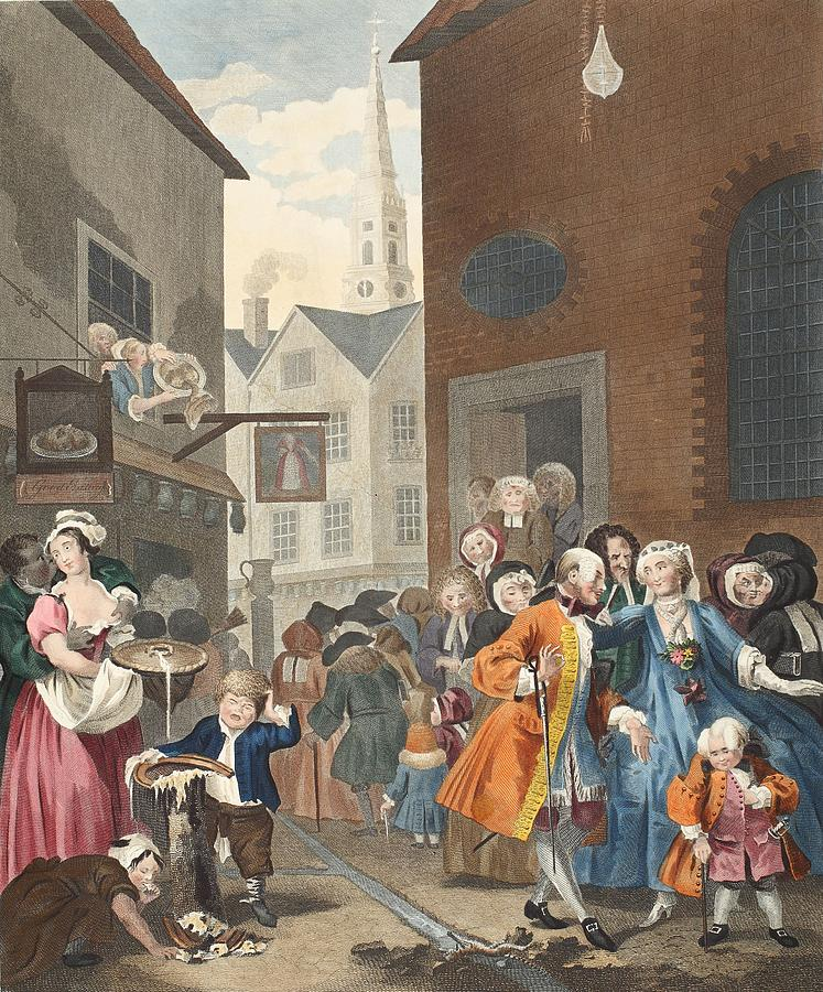 Street Scene Drawing - Times Of The Day Noon, Illustration by William Hogarth