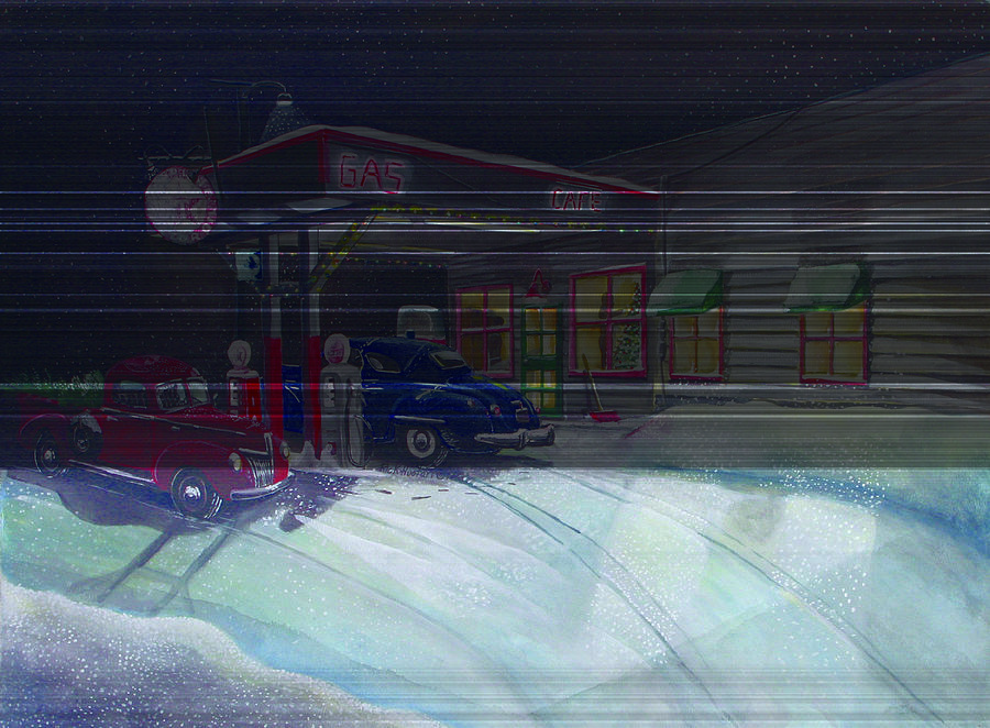Gas Station Painting - Times Past Gas Station by Rick Huotari