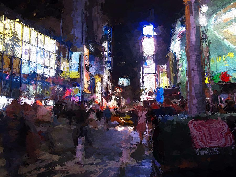 Times Square Night Nyc New York Color Colors Colorful Light Lights Urban City Expressionism Impressionism  Painting - Times Square By Night by Steve K