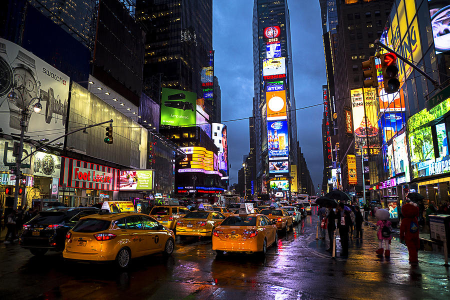 Times Square Photograph - Times Square In The Rain by Garry Gay