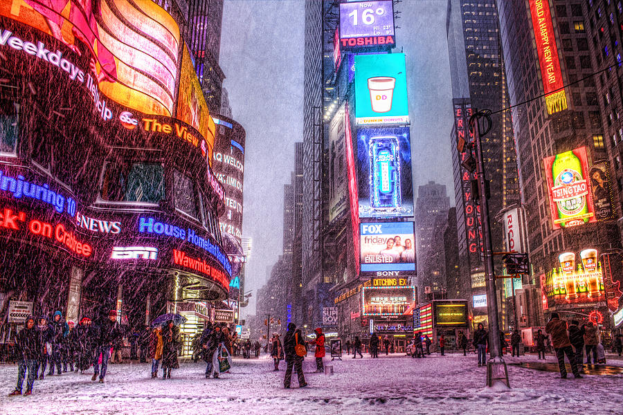 Times Square Photograph - Times Square In The Snow by Zev Steinhardt