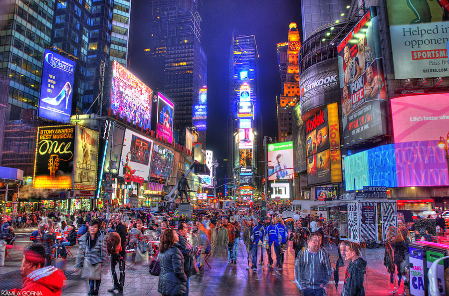 Hdr Photograph - Times Square by Kamila  Gornia