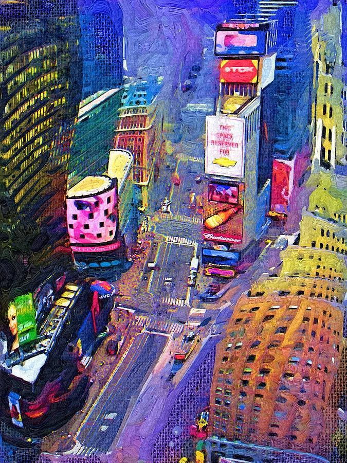 Cityscape Digital Art - Times Square Nyc by Bud Anderson