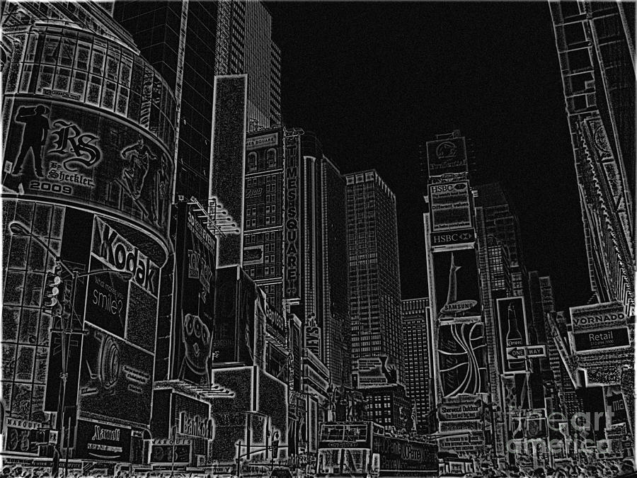 Times Square Drawing - Times Square Nyc White On Black by Meandering Photography